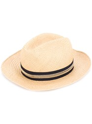 Lanvin Contrast Ribbon Fedora Hat Nude And Neutrals