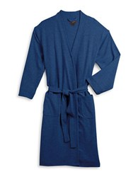 Black Brown Waffle Knit Robe Navy