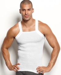 2Xist 2 X Ist Men's Underwear Essentials Tank Square Cut 2 Pack White