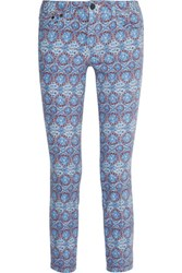 Tory Burch Alexa Cropped Printed Mid Rise Straight Leg Jeans Light Blue