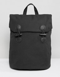 Asos Backpack In Canvas With Toggle Fastening Black