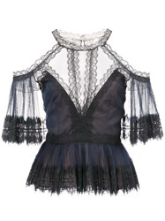 Marchesa Notte Sheer Lace Detailed Blouse Nylon Polyester Black
