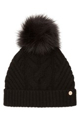 Ted Baker Women's London Cable Knit Beanie With Faux Fur Pom