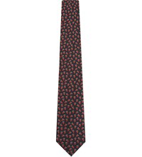 Paul Smith Small Strawberry Pattern Silk Tie Blk Red