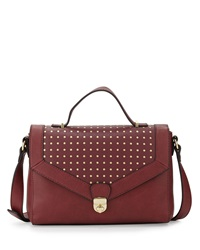 Neiman Marcus Dotted Turn Lock Satchel Bag Wine