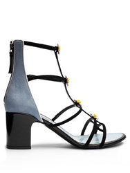 Fabrizio Viti Daisy Embellished Suede Sandals Black Blue