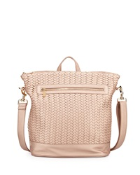 Neiman Marcus Woven Faux Leather Backpack Rose Gold