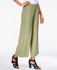 Kensie Embroidered Wide Leg Pull On Pants