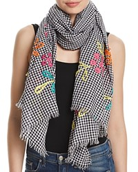 Fraas Embroidered Gingham Oblong Scarf Black Multi