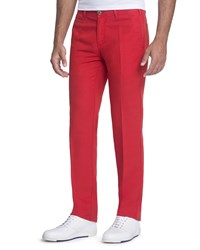 Stefano Ricci Linen Blend Pants With Suede Details Medium Red