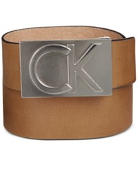 Calvin Klein Men's Leather Logo Plaque Belt Sand