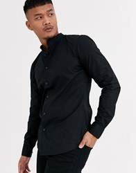 Only And Sons Cotton Shirt With Grandad Collar In Black