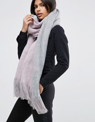 Asos Colour Block Reversible Rochelle Scarf Lilac And Grey Multi