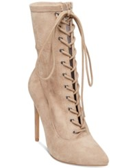 Steve Madden Women's Satisfied Lace Up Stiletto Booties Taupe Suede