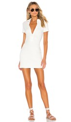 Solid And Striped Rib Zip Dress In White. Cream