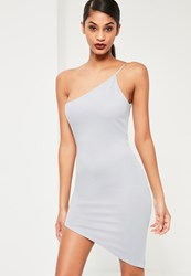 Missguided Grey One Shoulder Bodycon Asymmetric Dress Ice Grey