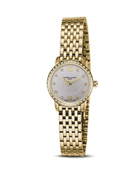 Frederique Constant 18K Gold Plated Stainless Steel Slim Line Quartz Watch With Diamonds 25Mm
