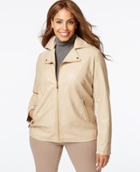 Kenneth Cole Plus Size Faux Leather Bomber Jacket Sand