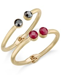 Inc International Concepts Gold Tone 2 Pc. Set Faceted Stone Hinged Bangle Bracelets Only At Macy's