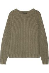 The Row Keyes Ribbed Wool And Cashmere Blend Sweater Gray Green