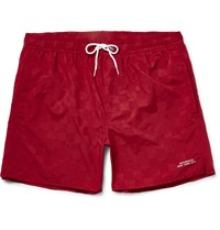 Saturdays Surf Nyc Timothy Checkerboard Mid Length Swim Shorts Burgundy