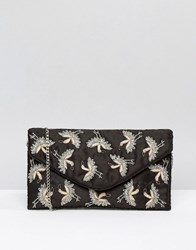 New Look Bird Embroidered Clutch Bag Black Pattern
