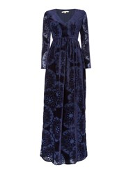 Little White Lies Long Sleeved Devore Velvet Maxi Dress Navy