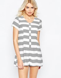 Daisy Street Romper In Stripe With Open Back Whiteblackstripe
