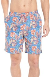 Peter Millar Stars And Coral Swim Trunks Atlantic Blue
