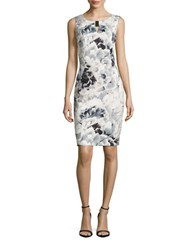 Calvin Klein Floral Sheath Dress Latte
