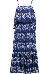 Tanya Taylor Amara Cutout Printed Silk Georgette Dress Navy
