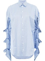 Y Project Draped Sleeves Striped Shirt Women Cotton 40 Blue