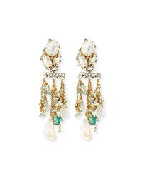 Alexis Bittar Beaded Moonstone Statement Earrings Gold