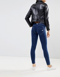 Freddy Wr.Up Mid Rise Shaping Effect Push In Skinny Jean With Rips Mid Blue
