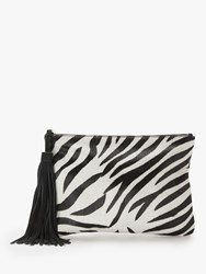 And Or Isabella Leather Animal Print Clutch Bag Zebra Print