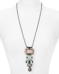 Aqua Fiona Multi Stone Pendant Necklace 26 Black