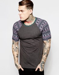 Asos Muscle T Shirt With Aztec Print Raglan Sleeves In Charcoal