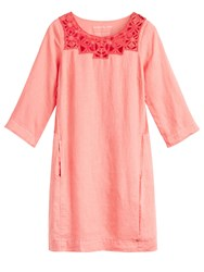 Sandwich Linen Dress With Embroidered Neck Detail Red