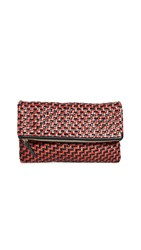 Clare V. Fold Over Clutch Red Black Zigzag