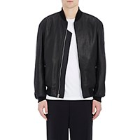 Alexander Wang Men's Leather Bomber Jacket Black Blue Black Blue