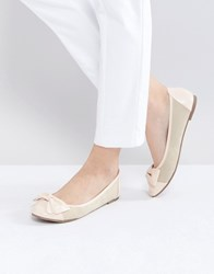 London Rebel Bow Front Soft Ballerina Beige