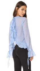 Robert Rodriguez Polka Dot Open Back Top Blue