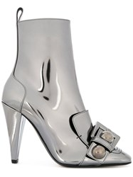N 21 No21 Buckle Detail Metallic Boots Silver