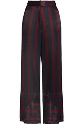 By Malene Birger Striped Satin Wide Leg Pants Blue