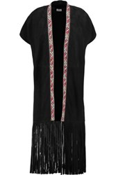 Talitha Ottoman Embroidered Fringed Suede Cape Black