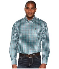 Cinch Long Sleeve Plain Weave Plaid Teal Clothing Blue