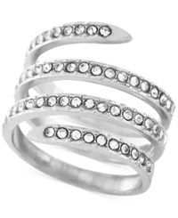 Bcbgeneration Silver Tone Crystal Pave Wrap Ring