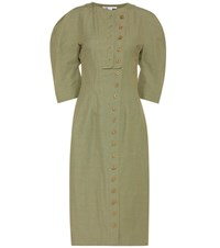 Stella Mccartney Kathey Cotton Blend Shirt Dress Green