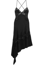 Kiki De Montparnasse Asymmetric Open Back Lace And Silk Charmeuse Midi Dress Black