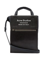 Acne Studios Baker Out Mini Leather Trimmed Canvas Tote Bag Black